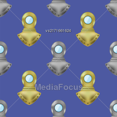 Diving Metal Helmet Seamless Pattern On Blue Water Background Stock Photo