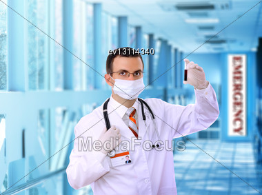 Doctor Resarch A Medical Test Glass With Blood In Hospital Stock Photo