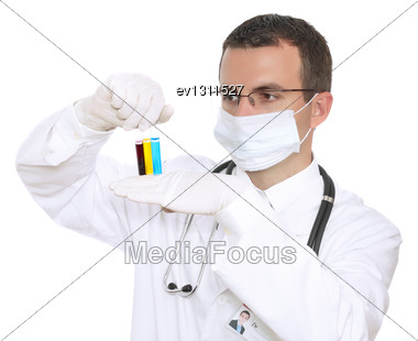 Doctor Resarch A Medical Test Glass With Urine. Isolated Over White Stock Photo