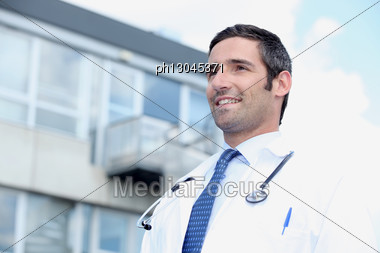 Doctor Standing Outside Stock Photo