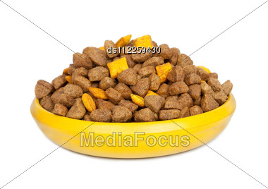 Dog Dry Food In A Bowl Stock Photo