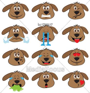 Dog Emojis Set Of Emoticons Icons Isolated. Vector Illustration On White Background Stock Photo