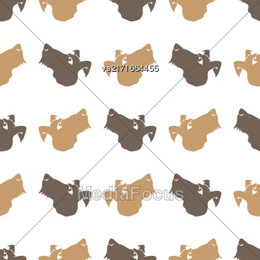 Dog Seamless Animal Pattern. Pet Isolated On White Background Stock Photo