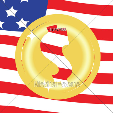 Dollar Golden Coin On United States Of America Flag Background Stock Photo