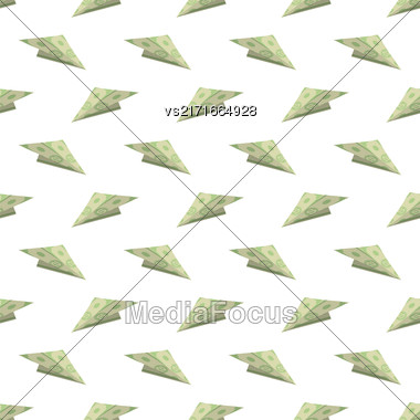 Dollar Paper Concept Plane Seamless Pattern On White Background. American Banknotes. Cash Money. US Currency Stock Photo
