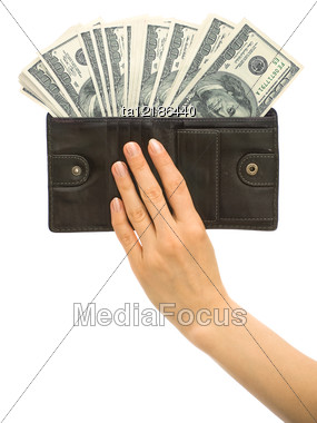 Dollars In Black Leather Wallet Stock Photo