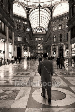 Dome Of The Historical Galleria Umberto Primo In The Centre Naples Italy Stock Photo