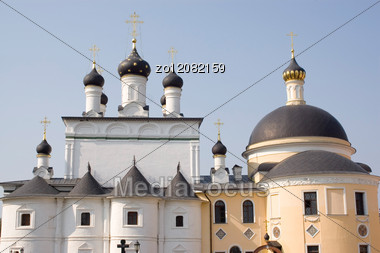 Domes Of Churches Of Russian Monastery Near Moscow Stock Photo