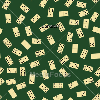 Domino Seamless Pattern Isolated On Green Background. Board Game Texture Stock Photo