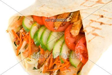 Doner Kebab Closeup . Stock Photo