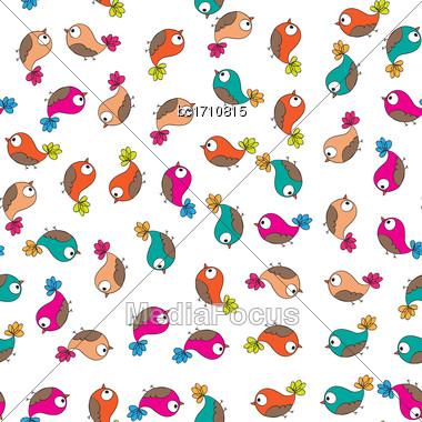 Doodle Birds Seamless Pattern, Vector Format Stock Photo