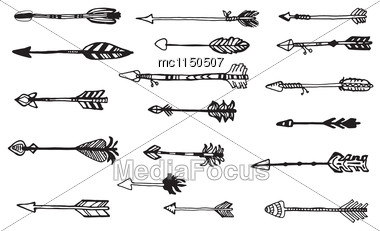 Doodle Hand Drawn Arrows Set. Vector Hand Drawn Sketch Stock Photo