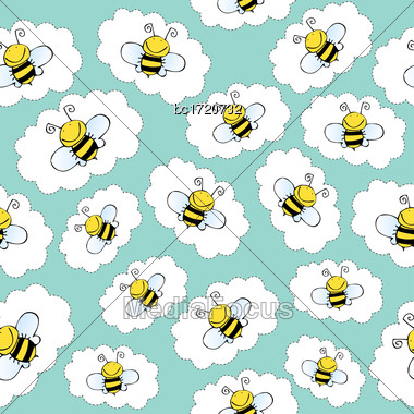 Doodle Seamless Pattern With Bees, Vector Format Stock Photo