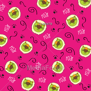 Doodle Seamless Pattern With Lions, Vector Format Stock Photo