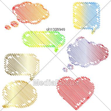 Doodle Speech Bubbles Set Stock Photo