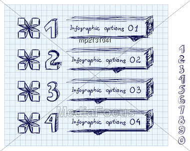 Doodle Style Number Options Banner For Infographic Stock Photo
