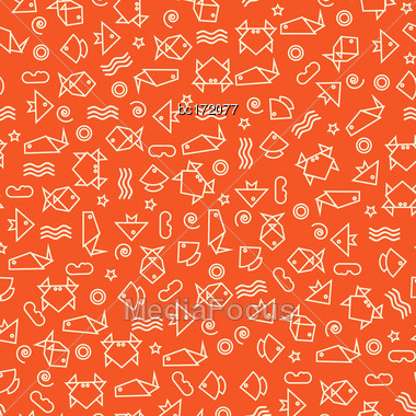 Doodle Style Seamless Pattern With Fish And Other Nature Elements. Vector Stock Photo