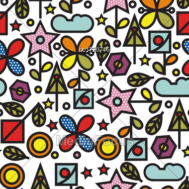 Doodle Style Seamless Pattern With Flowers And Other Nature Elements.Vector Stock Photo