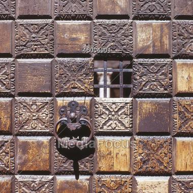 Door Knocker On Old Door Stock Photo
