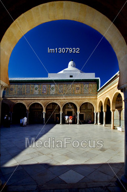 Door Sky And Arc Great Mosque Of Kairouan Tunisia The Fourth Most Sacred Place Of Islam Stock Photo
