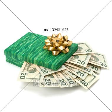 Dotation Concept. Money Inside Gift Box Isolated On White Background Stock Photo