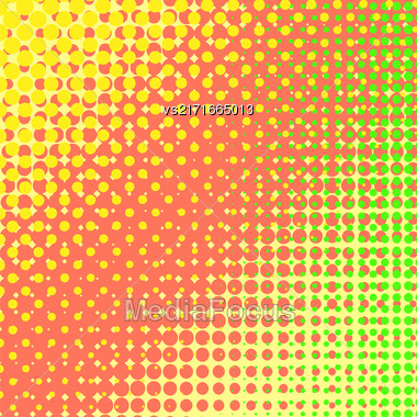 Dots On Yellow Background. Halftone Texture. Halftone Dots. Halftone Effect Stock Photo