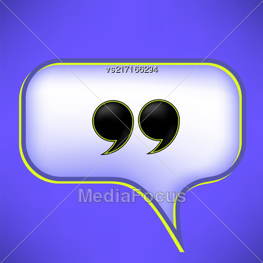 Double Guotes Isolated On Speech Bubble. Speech Bubble On Blue Bacikground Stock Photo