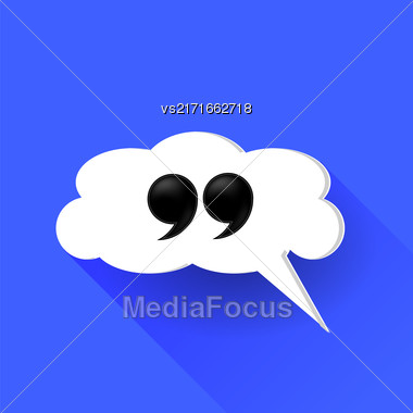 Double Guotes Isolated On White Speech Bubble. Long Shadow Stock Photo