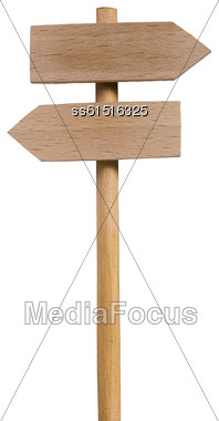 Double Road Sign Signpost Wood Side View Stock Photo