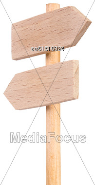 Double Road Sign Signpost Wood Isolated On White Background Stock Photo