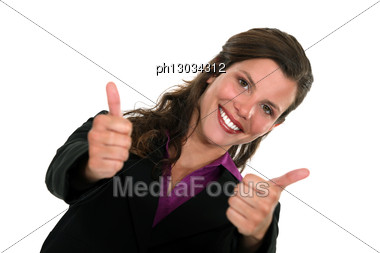 Double Thumbs Up From A Smiling Businesswoman Stock Photo