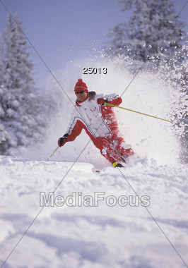 Downhill Skiing Stock Photo