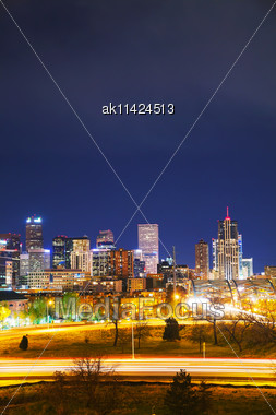 Downtown Denver, Colorado At The Night Time Stock Photo