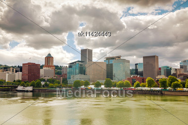 Downtown Portland Cityscape On An Overcast Day Stock Photo