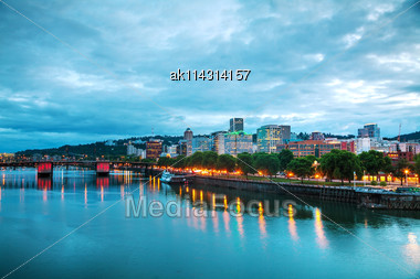Downtown Portland, Oregon Cityscape At The Night Time Stock Photo