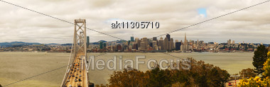 Downtown Of San Francisco As Seen From The Bay In The Morning Stock Photo