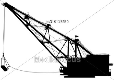 Dragline Walking Excavator With A Ladle. Vector Illustration Stock Photo