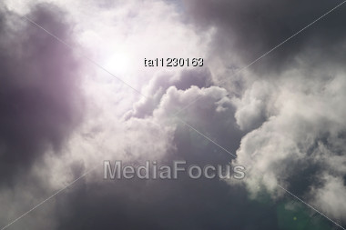 Dramatic Cloudscape, Grey Cloudy Sky Background Stock Photo