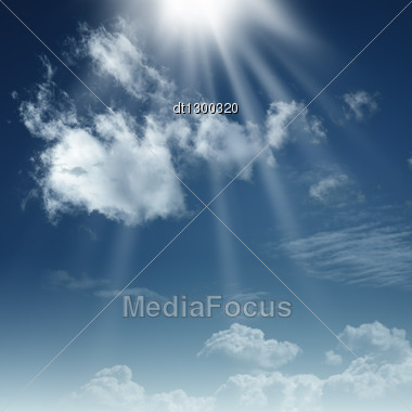 Dramatic Skies With White Clouds And Sun Beams Stock Photo