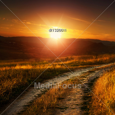 Dramatic Sunset Over Autumnal Valley, Natural Landscape Stock Photo