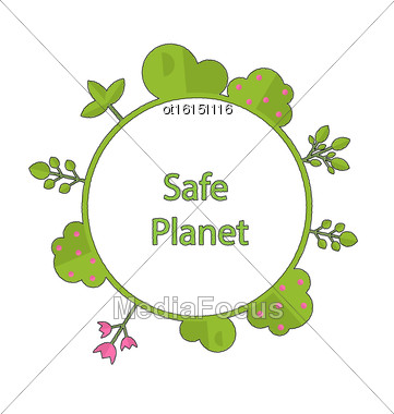 Drawing Doodle Frame In Form Circle Green Earth On Surface Tree, Plant, Flower And Bush Intro Cry Text Safe Planet - Vector Stock Photo