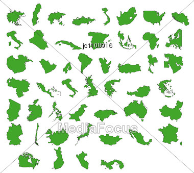 Stock Photo Drawing Outline Every Country In World Image - Country outlines