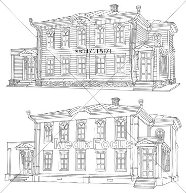 Drawing Sketch Of A House Vector Illustration Stock Photo