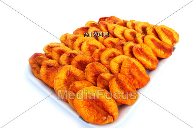 Dried Peaches In Trays Stock Photo