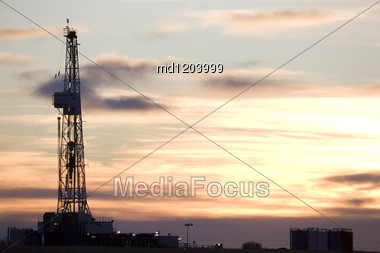 Drilling Rig Potash Mine Night Photography Stock Photo