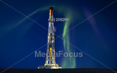 Drilling Rig Potash Mine Night Photography Northern Lights Aurora Stock Photo