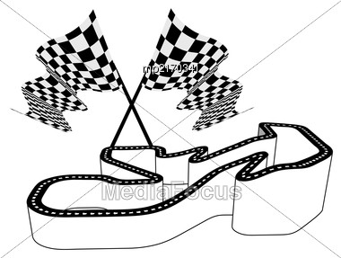 Driving Racing Circuit With A Relief Showing The Height Of The Road Above Sea Level. Three-dimensional Vector Illustration With Checkered Flag Stock Photo