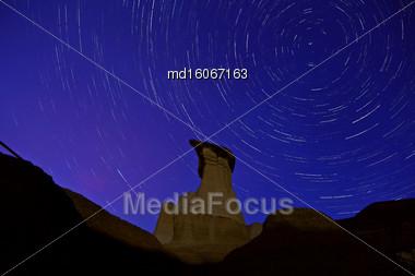 Drumheller Hoo Doo Night Shor Star Trails Stock Photo