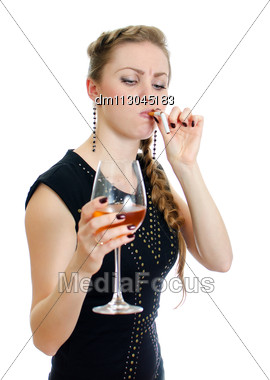 Drunk Woman With Cigarette And Wine. Isolated On White. Stock Photo