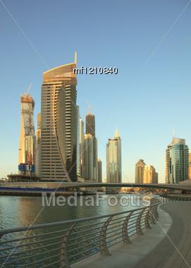 Dubai Marina. Cityscape Before Sunset. Panoramic Scene. Stock Photo